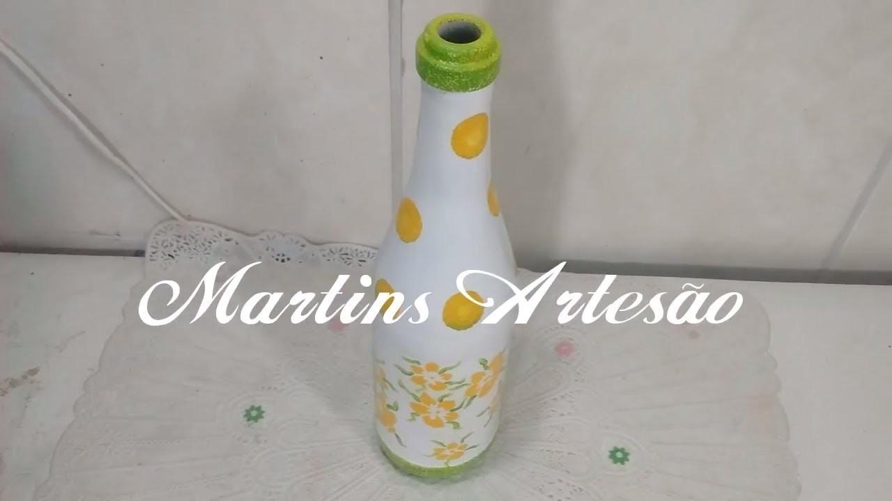 Painted Bottle.Garrafa pintada com stencil