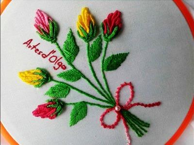 Rose Bud Bouquet Embroidery | Bouquet de Botones de Rosa | Hand Embroidery Tutorial by Artesd'Olga