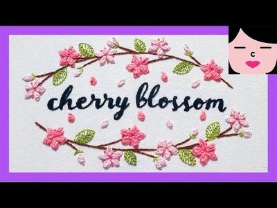 벚꽃 프랑스자수패키지 자수배우기 cherry blossom hand embroidery tutorial