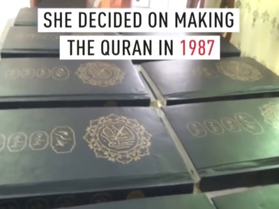 Woman claims to have made the first hand embroidered Quran in the world