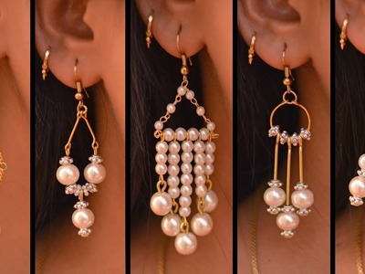 5 easy Pearl Earring Design | DIY | 5 min Craft | Hand made jewelry | Art with Creativity