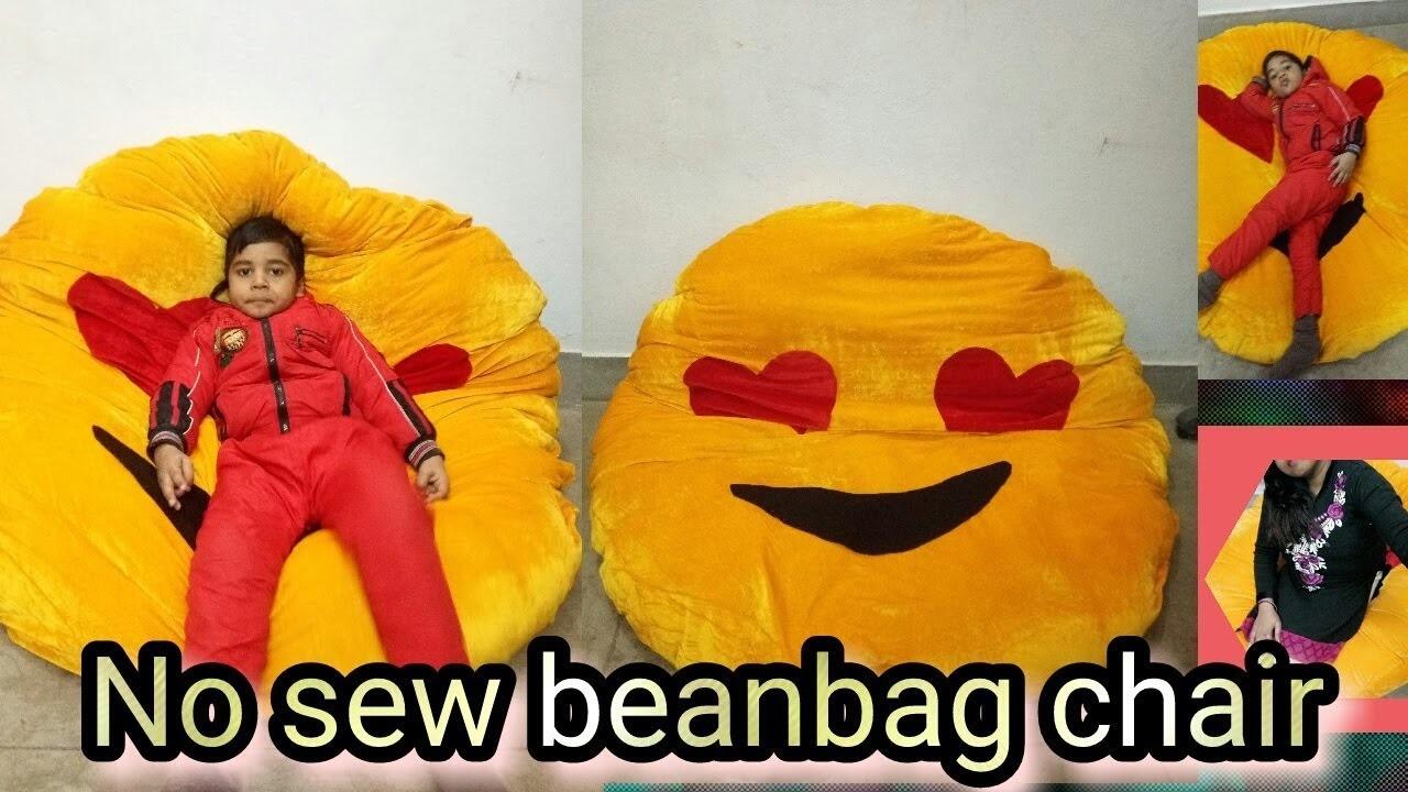59. emoji beanbag chair(No sew). kids bed heart eyes