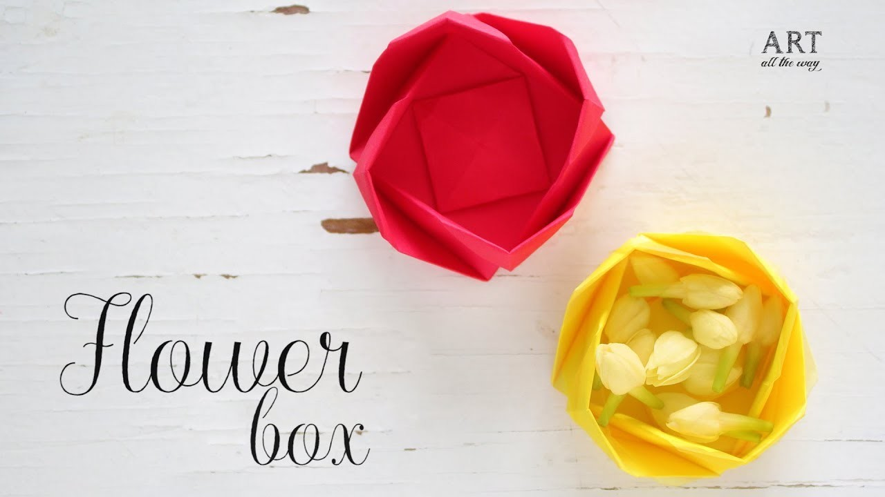 Diy Paper Flower Box Origami Box Paper Folding