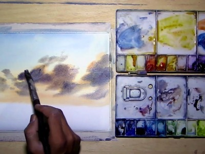 Easy watercolor skyscape painting tutorial for beginners M Kazmi Studios