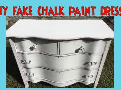 Fake Chalk Paint Dresser- Get a Chalk Paint Look with Plain Latex Paint & Baby Oil