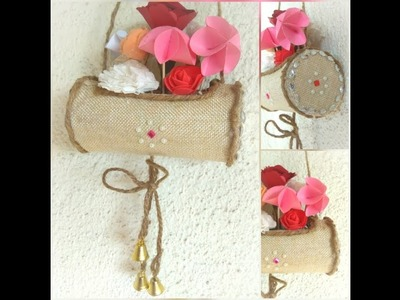 Hanging Flower Basket Made by Waste Box and Jute bag. Jute Flower Vase from Chips Box