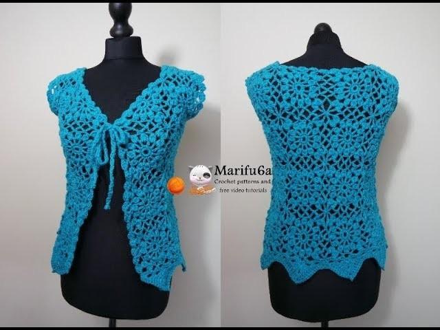 How to crochet green jacket bolero cardigan Chaleco para principiantes free tutorial pattern