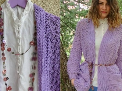 How to crochet Lavender Crochet Cardigan! Easy pattern, step-bystep!