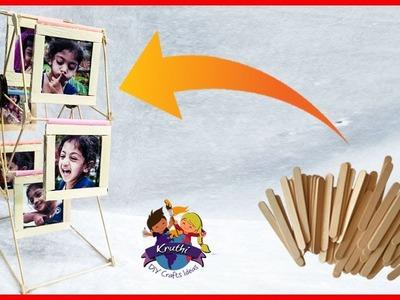 How to Make a Ferri Wheel Photo Frame out of popsticks || Ice Cream Stick Craft || Kruthi DIY Craft