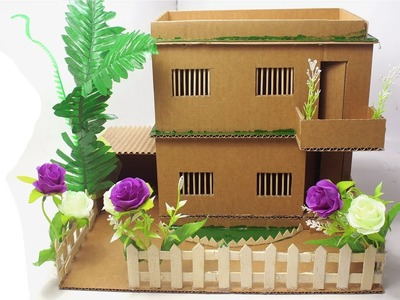 How to make Cardboard House Project at home - Cardboard