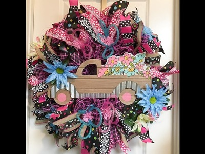 Live making a Truck Summer Wreath with 30in ruffles