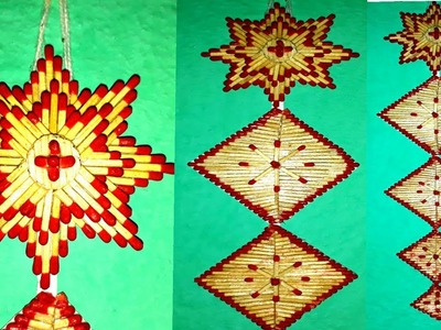 Matchstick art: How to make matchstick wall hanging flower shape. easy matchstick craft.