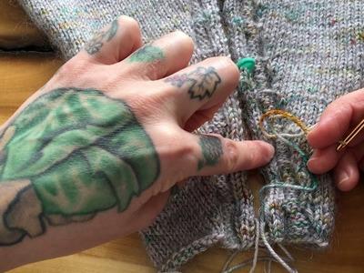 Mattress Stitch (Knit Side.Rose Cardigan)