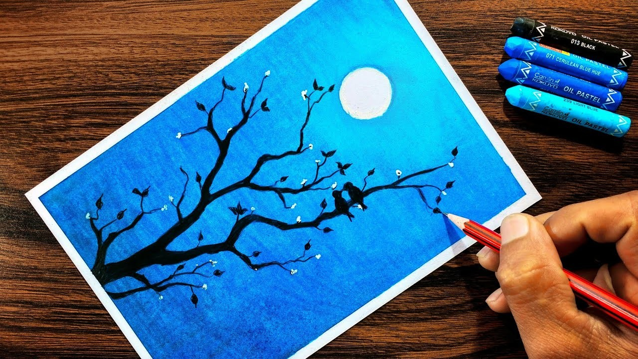 Moonlight Drawing For Beginners With Oil Pastel Step By Step