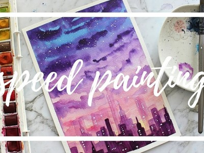 Painting a Sunset and City Skyline using Watercolor Paints