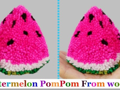 Pom pom Watermelon making From yarn.wool step by step at home-pompom making|DIY Yarn.Wool craft idea