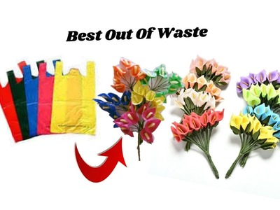 Reuse idea with plastic carry bags | Flower bunches making