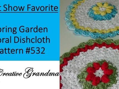 Spring Garden Floral Dishcloth Pattern # 532 - Crochet Tutorial