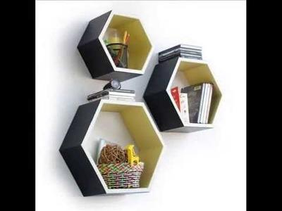 Trista - Hexagon Leather Wall Shelf Bookshelf; hexagon wall shelf, cube wall shelf