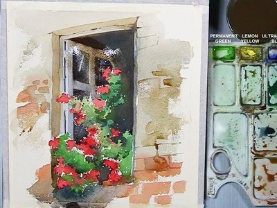 Watercolor Painting | Flowers in the Window | step by step