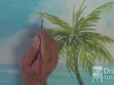 Acrylic Seascape Painting Lesson (Pt 2) – How To Paint A Palm Tree