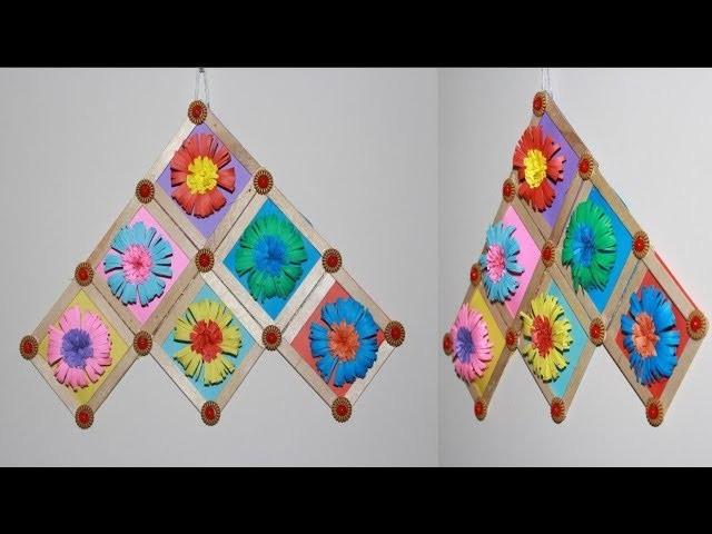 Beautiful Paper Flower Wall Hanging Ice Cream Sticks Craft Ideas