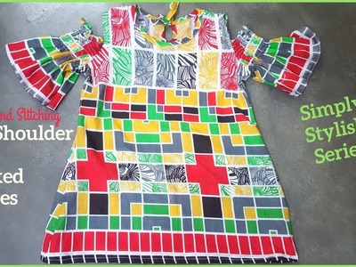 Cold-Shoulder with Smoked Sleeves Tunic.Top.Kurti Cutting and Stitching | DIY Smoked Sleeves Kurti