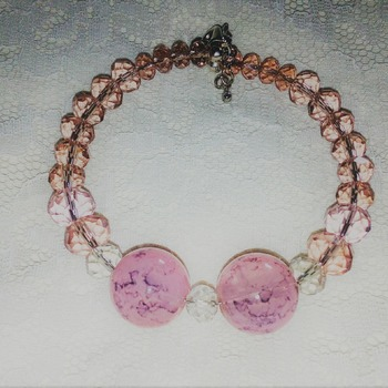 Crackle glass and Crystal bracelet.