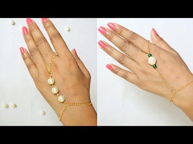 DIY 2 styles of ring bracelets.Pearls Hand Harness.Pearl and chain with harness.Pearl bracelets