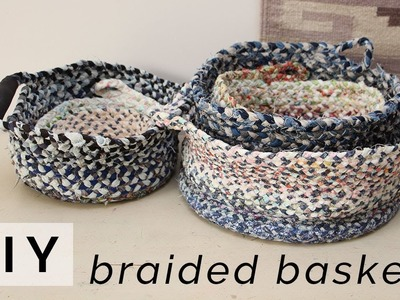 DIY BRAIDED BASKET & BOWL. Make a storage basket or bowl from fabric scraps & old clothing!