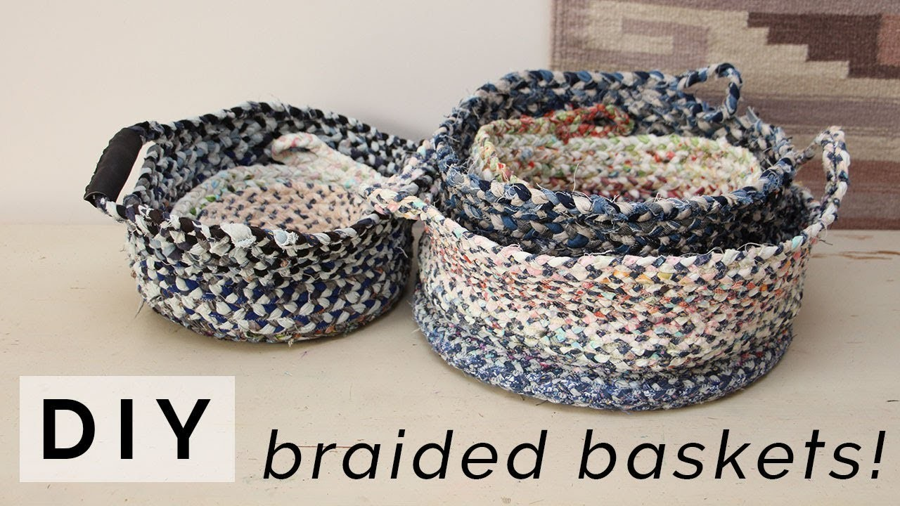 DIY BRAIDED BASKET & BOWL. Make a storage basket or bowl from fabric scraps & old clothing!