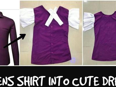 DIY: Convert Men's Shirt Into Cute Shirt Dress In 5 Mins HINDI