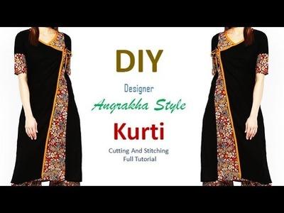 DIY Designer Angrakha Style Kurti Cutting And Stitching Tutorial