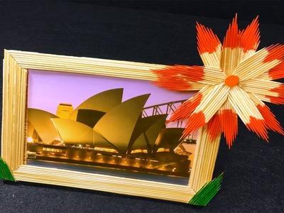 DIY   Easy Craft Bamboo Stick Photo Frame   Photo Frame Handmade