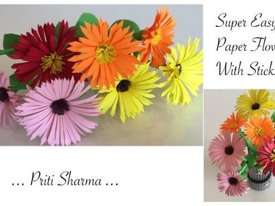 DIY : Easy Way To Make Paper Flower Chrysanthemums. Paper Flower Craft | Priti Sharma