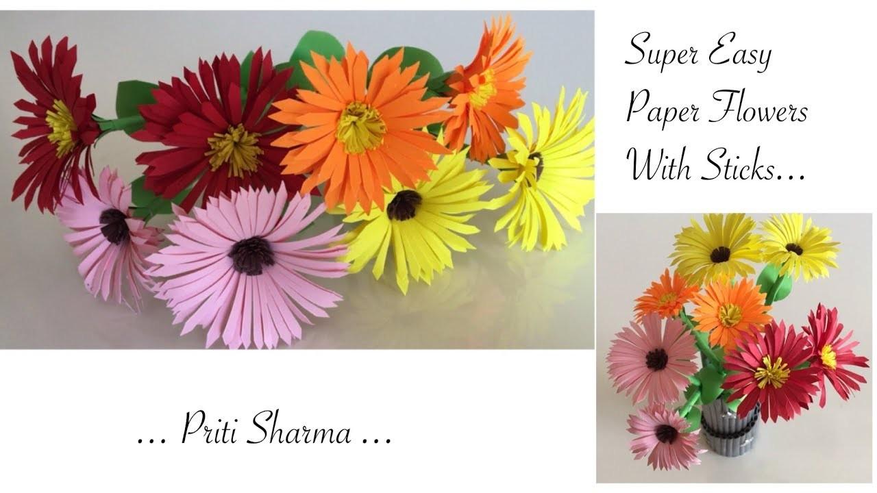 diy easy way to make paper flower chrysanthemums paper flower craft priti sharma