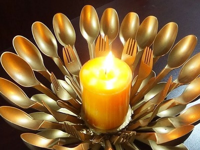 DIY Home decor - How To Make A Candle.Light Stand With Plastic Spoons   Best Use Of Waste  