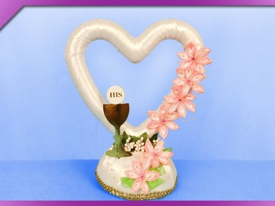 DIY How to make table decoration, standing heart, First Communion (ENG Subtitles) - Speed up #478
