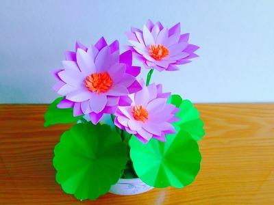 DIY lottus flowers from papers.''' tutorial bunga teratai Dari kertas