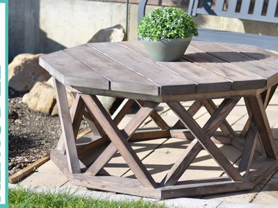 DIY Octagon Outdoor Coffee Table with X-Base Lattice Legs