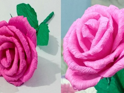 DIY Paper Rose:Crepe paper flower making tutorial: Paper Craft