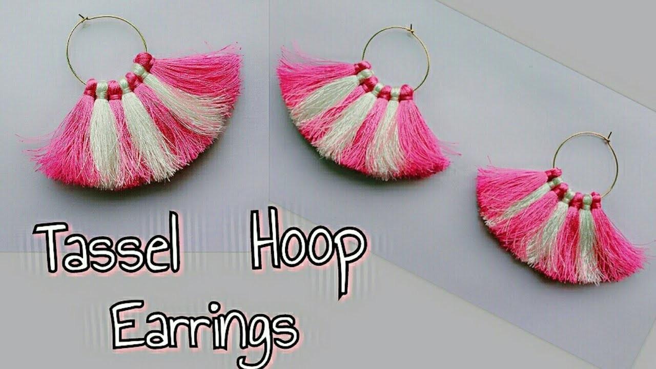 DIY Tassel Hoop Earrings.Two Color Tassel Hoop Earrings.How to make Tassel Hoop Earrings