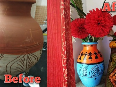 Easy Pot Painting| Painting using Acrylic color\ DIY Pot  inspired by Warli art - Ancient Indian art