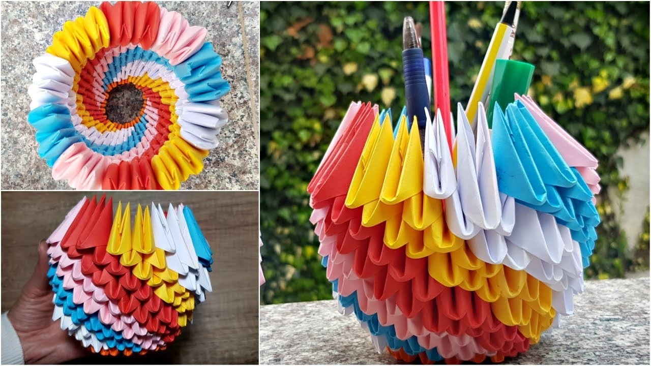 How To Make 3d Origami Pen Holder Diy Basket