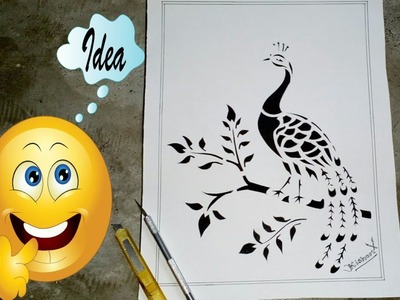 How to make a Peacock Paper Cutting Craft  Art by Pen-Knife