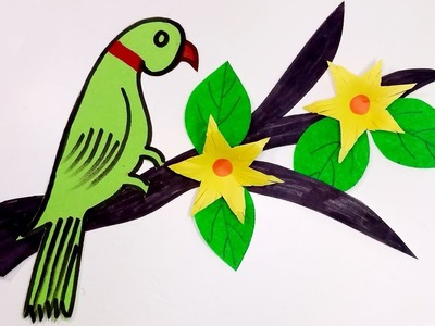 How to Make Beautiful Art & Craft Parrot with Nice Tree & Sweet Flower | Jarine's Crafty Creation