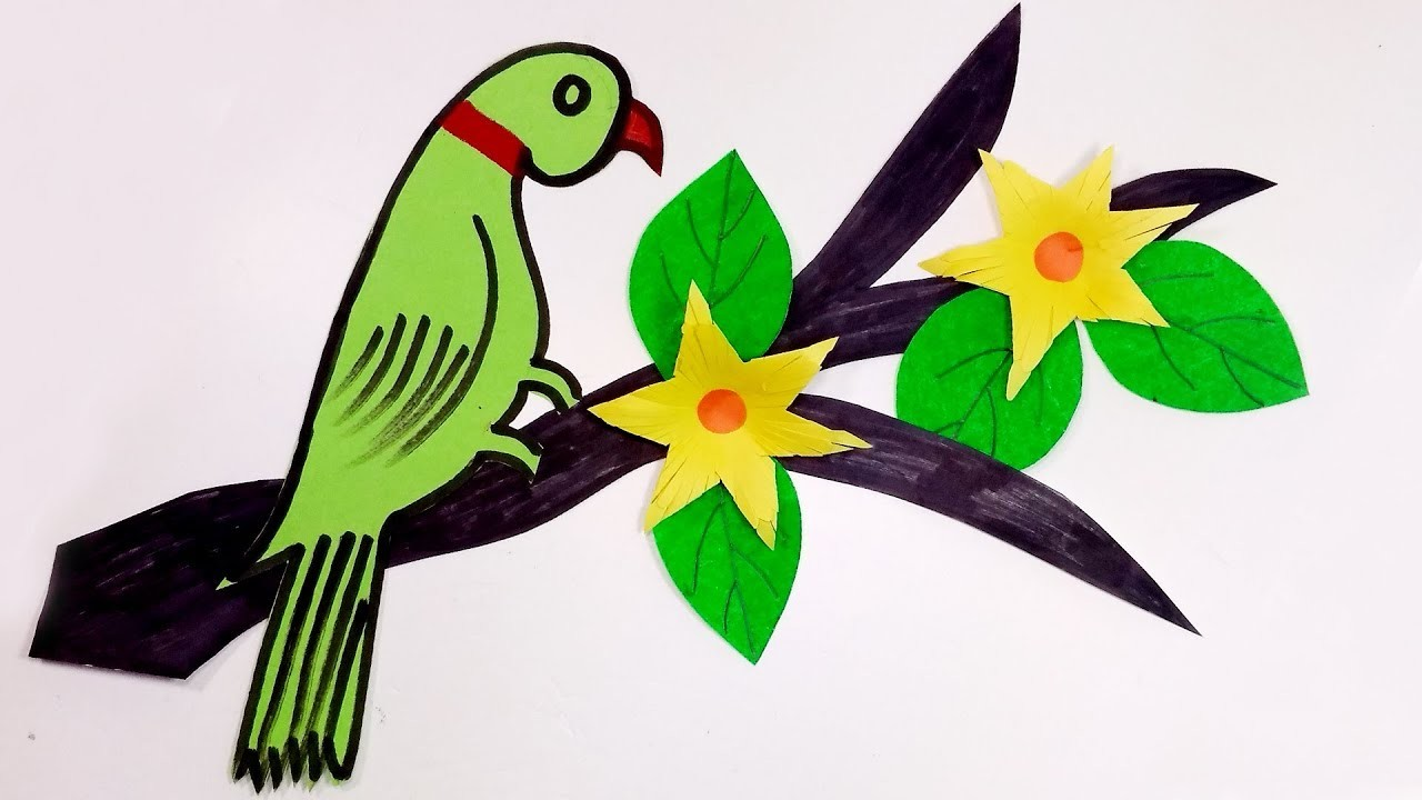 How To Make Beautiful Art Craft Parrot With Nice Tree Sweet