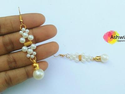 How To Make Beautiful Pearls Drop Earrings At Home | DIY | Pearls Jewerly Making | uppunutiashwini