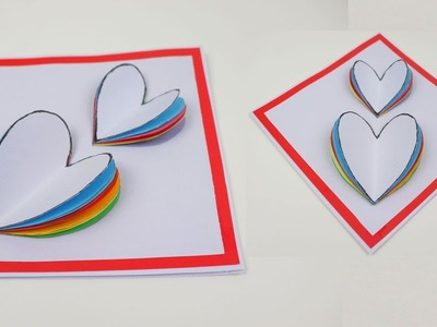 How to Make DIY Easy Mother's Day Card Rainbow Heart Love Greeting Card - Easy Valentine's Day Card