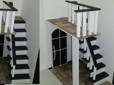 How to make Doll Stairs with Railing